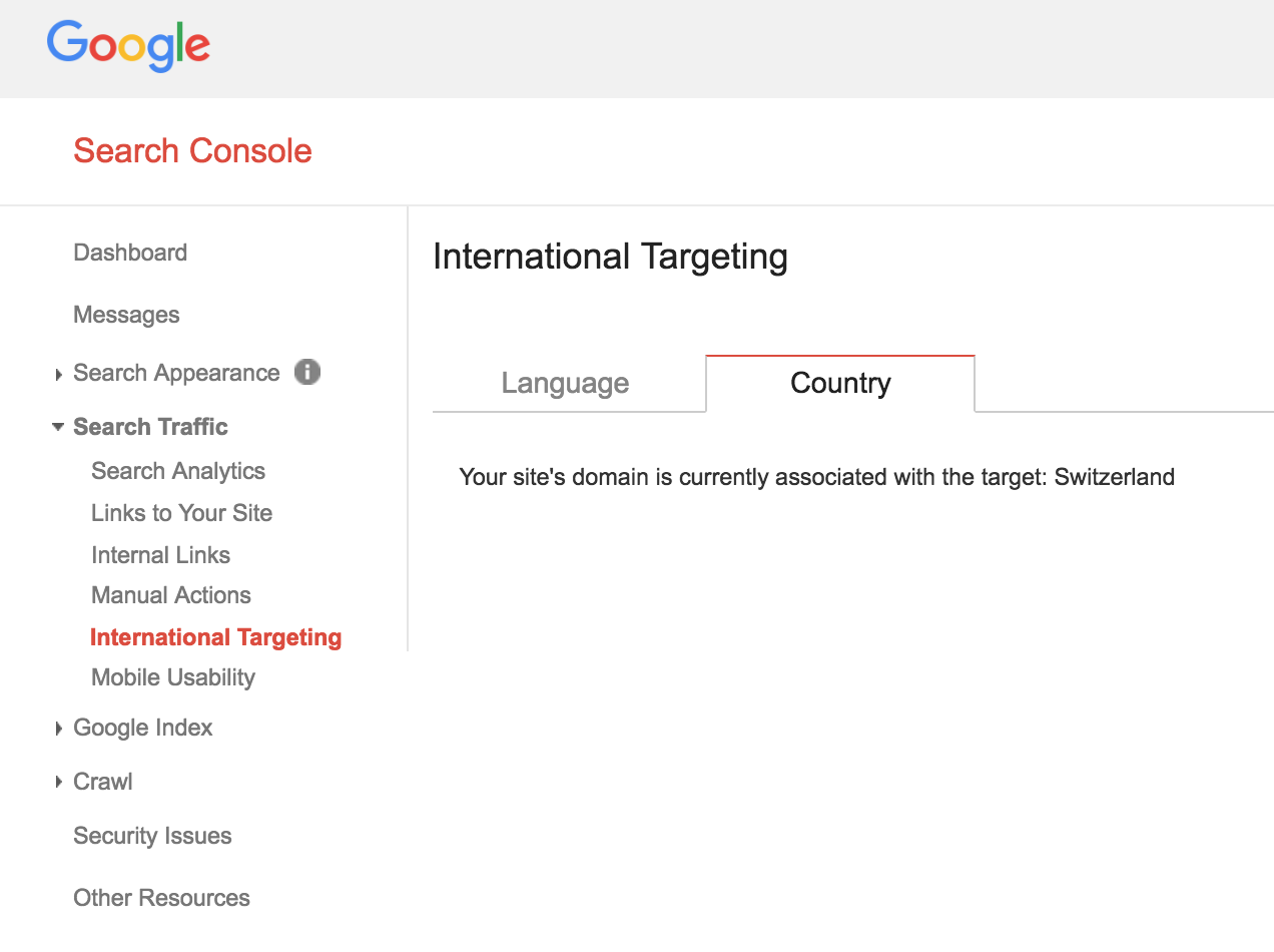 International targeting options in Google Search Console