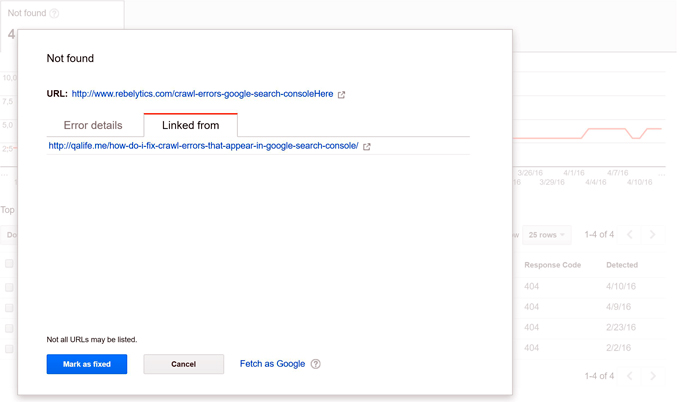 See internal links for crawl errors in Google Search Console